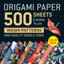 "Origami Paper 500 sheets Japanese Washi Patterns 6"" (15 cm) : High-Quality, Double-Sided Origami Sheets  with 12 Different Designs (Instructions for 6 Projects Included) - Book"