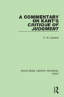A Commentary on Kant's Critique of Judgement - eBook