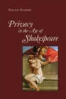 Privacy in the Age of Shakespeare - Book
