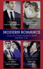 Modern Romance March 2019 5-8: A Wedding at the Italian's Demand / Claimed for the Greek's Child / A Virgin to Redeem the Billionaire / Seducing His Convenient Innocent - eBook