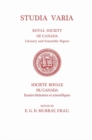 Studia Varia : (Royal Society of Canada, Literary and Scientific Papers) - eBook