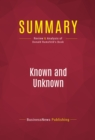 Summary: Known and Unknown : Review and Analysis of Donald Rumsfeld's Book - eBook