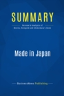 Summary: Made in Japan : Review and Analysis of Morita, Reingold and Shimomura's Book - eBook