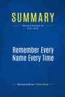 Summary: Remember Every Name Every Time : Review and Analysis of Levy's Book - eBook