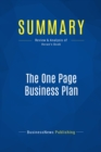 Summary: The One Page Business Plan : Review and Analysis of Horan's Book - eBook