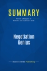 Summary: Negotiation Genius : Review and Analysis of Malhotra and Bazerman's Book - eBook