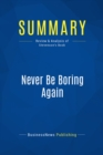 Summary: Never Be Boring Again : Review and Analysis of Stevenson's Book - eBook