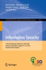 Information Security : 17th International Conference, ISSA 2018, Pretoria, South Africa, August 15-16, 2018, Revised Selected Papers - eBook