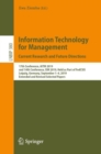 Information Technology for Management: Current Research and Future Directions : 17th Conference, AITM 2019, and 14th Conference, ISM 2019, Held as Part of FedCSIS, Leipzig, Germany, September 1-4, 201 - eBook