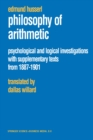 Philosophy of Arithmetic : Psychological and Logical Investigations with Supplementary Texts from 1887-1901 - eBook