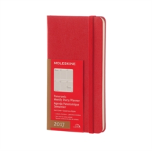 2017 Moleskine Scarlet Red Slim Panoramic Diary 12 Month Weekly Hard, Paperback Book
