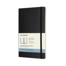 2019 Moleskine Notebook Black Large Monthly 12-month Diary Soft, Paperback Book