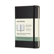 2019 Moleskine Notebook Black Pocket Weekly 12-month Diary Hard, Paperback Book