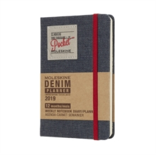 2019 Moleskine Denim Limited Edition Notebook Black Pocket Weekly 12-month Diary, Paperback Book