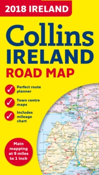 2018 Collins Map of Ireland, Sheet map, folded Book