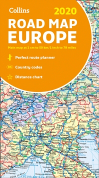 2020 Collins Map of Europe, Sheet map, folded Book