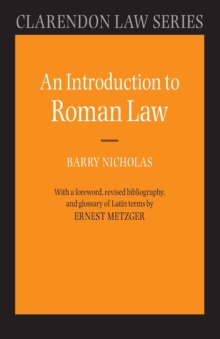 An Introduction to Roman Law, Paperback Book