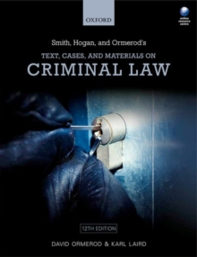 Smith, Hogan, & Ormerod's Text, Cases, & Materials on Criminal Law, Paperback / softback Book