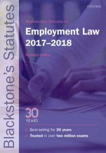 Blackstone's Statutes on Employment Law 2017-2018, Paperback / softback Book