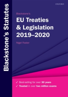 Blackstone's EU Treaties & Legislation 2019-2020, Paperback / softback Book