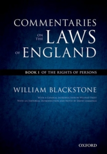 The Oxford Edition of Blackstone's: Commentaries on the Laws of England : Book I: Of the Rights of Persons, Paperback Book