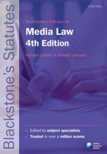 Blackstone's Statutes on Media Law, Paperback Book