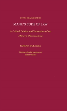 Manu's Code of Law : A Critical Edition and Translation of the M-anava-Dharmas-astra, PDF eBook