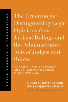 The Criterion for Distinguishing Legal Opinions from Judicial Rulings and the Administrative Acts of Judges and Rulers, Hardback Book