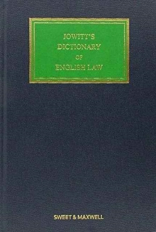 Jowitt's Dictionary of English Law, Hardback Book