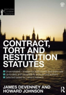Contract, Tort and Restitution Statutes 2012-2013, Paperback / softback Book