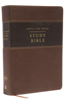 NKJV, Apply the Word Study Bible, Large Print, Imitation Leather, Brown, Indexed, Red Letter Edition : Live in His Steps, Leather / fine binding Book