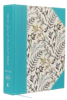 NKJV, Journal the Word Bible, Large Print, Cloth over Board, Blue Floral, Red Letter Edition : Reflect, Journal, or Create Art Next to Your Favorite Verses, Hardback Book