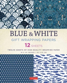 Blue & White Gift Wrapping Papers : 12 Sheets of High-Quality 18 x 24 inch Wrapping Paper, Paperback Book