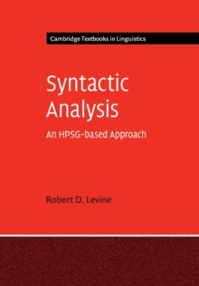 Syntactic Analysis : An HPSG-based Approach, Paperback Book