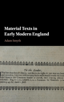 Material Texts in Early Modern England, Hardback Book