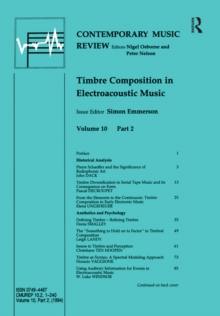 Timbre Composition in Electroacoustic Music, EPUB eBook