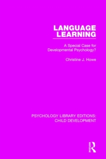Language Learning : A Special Case for Developmental Psychology?, Paperback / softback Book