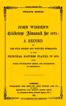 Wisden Cricketers' Almanack 1875, PDF eBook