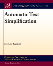 Automatic Text Simplification, Hardback Book