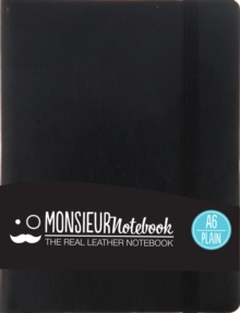 Monsieur Notebook Leather Journal - Black Plain Small A6, Leather / fine binding Book
