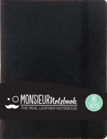 Monsieur Notebook Leather Journal - Black Sketch Small A6, Leather / fine binding Book