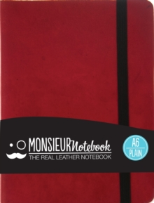 Monsieur Notebook Leather Journal - Red Plain Small A6, Leather / fine binding Book