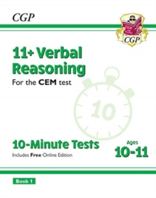 New 11+ CEM 10-Minute Tests: Verbal Reasoning - Ages 10-11 Book 1 (with Online Edition), Paperback / softback Book