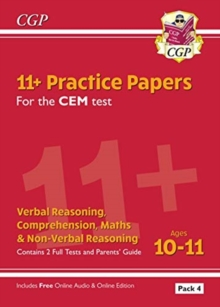 New 11+ CEM Practice Papers: Ages 10-11 - Pack 4 (with Parents' Guide & Online Edition), Paperback / softback Book