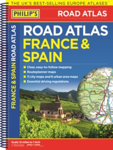 Philip's France and Spain Road Atlas, Spiral bound Book