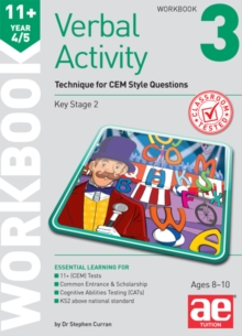 11+ Verbal Activity Year 4/5 Workbook 3 : Technique for CEM Style Questions, Paperback Book