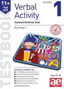 11+ Verbal Activity Year 4/5 : Standard 20 Minute Tests Testbook 1, Paperback / softback Book