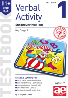 11+ Verbal Activity Year 3/4 Testbook 1 : Standard 20 Minute Tests, Paperback Book
