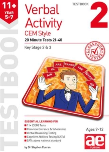 11+ Verbal Activity Year 5-7 Cem Style Testbook 2 : 20 Minute Tests 21-40, Paperback Book