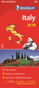 Italy 2018 National Map 735, Sheet map, folded Book